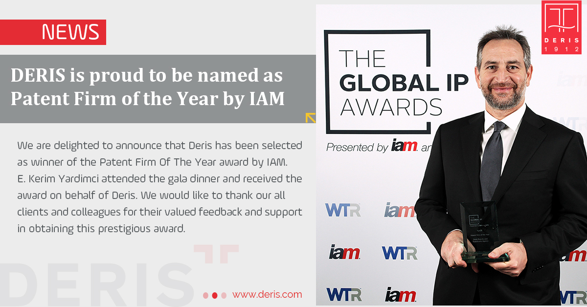 DERIS is proud to be named as Patent Firm of the Year by IAM