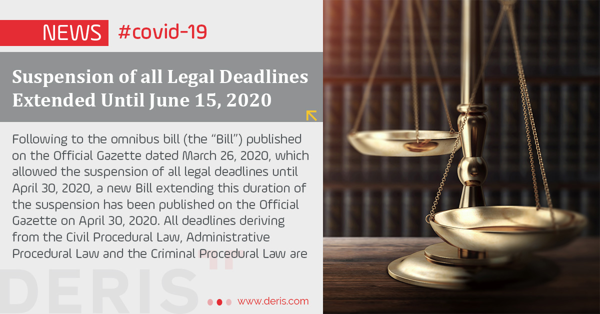 Suspension of all Legal Deadlines Extended Until June 15, 2020